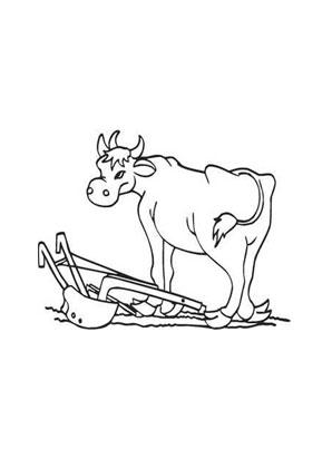 ausmalbild kuh mit pflug kostenlos ausdrucken