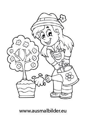 Ausmalbilder Mädchen giesst Blumen - Bauernhof Malvorlagen