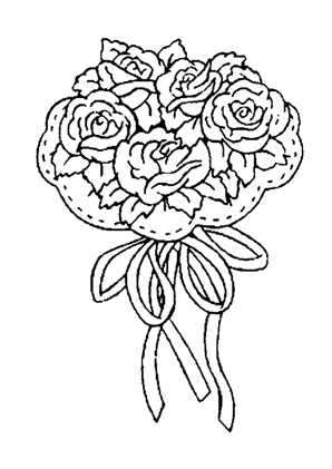 Ausmalbilder Blumenstrauss mit Rosen 9 - Blumenstrauss ...