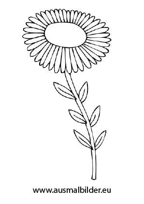 Ausmalbilder Blume mit Stiel - Blumen Malvorlagen ausmalen