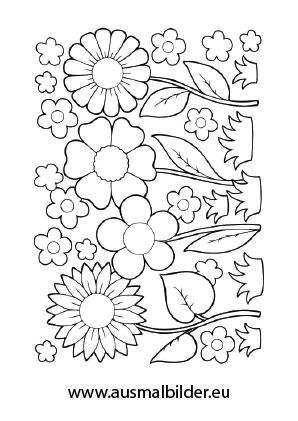 Ausmalbilder Blumenfeld - Blumen Malvorlagen ausmalen