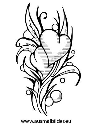 Ausmalbilder Herzblumen - Blumen Malvorlagen ausmalen