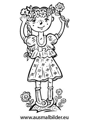 Ausmalbilder Mädchen mit Blumen - Blumen Malvorlagen ausmalen