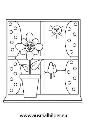 Ausmalbilder Sonnenblume auf einem Fensterbrett - Blumen Malvorlagen ...