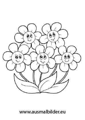 Ausmalbilder Viele süße Blümchen - Blumen Malvorlagen ausmalen