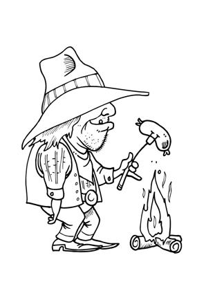 ausmalbild alter cowboy beim grillen kostenlos ausdrucken