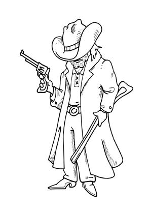 Ausmalbilder Cowboy Mit Langem Mantel Cowboys Malvorlagen