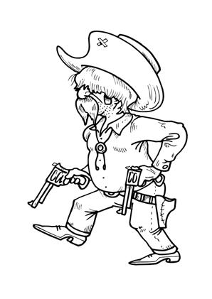 Ausmalbilder Cowboy Mit Zwei Pistolen Cowboys Malvorlagen