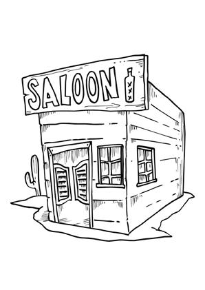 Ausmalbilder Saloon Cowboys Malvorlagen