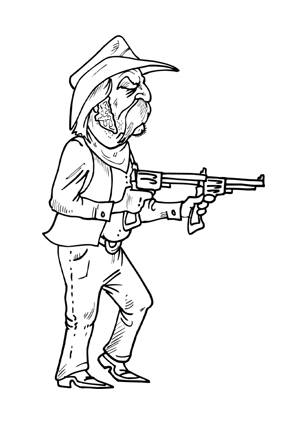 Ausmalbilder Schiessender Cowboy Cowboys Malvorlagen
