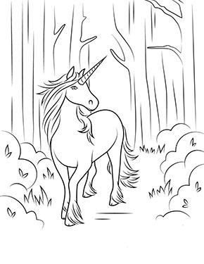 Ausmalbild Einhorn Spaziert Im Wald Zum Ausdrucken