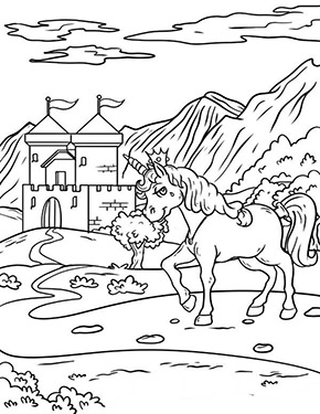 Ausmalbild Einhorn Vor Dem Schloss Zum Ausdrucken
