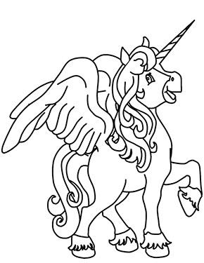 ausmalbild junges einhorn mit flügeln zum ausdrucken