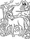 Einhorn im Wald Ausmalbild