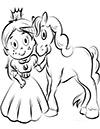 Einhorn mit junger Prinzeßin Ausmalbild