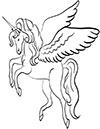 großes Einhorn mit Flügeln Ausmalbild