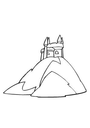 Ausmalbilder Burg auf einem Berg - Burgen und Schlösser Malvorlagen