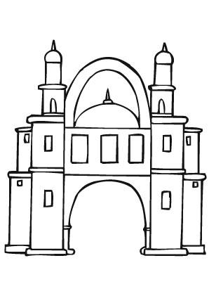 Ausmalbilder Orientalisches Schloss - Burgen und Schlösser Malvorlagen