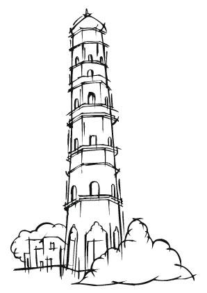 Ausmalbilder Schiefer Turm Von Pisa Denkmal Wahrzeichen