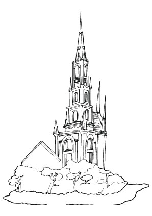 Ausmalbilder Hohe Kirche - Kirchen Malvorlagen