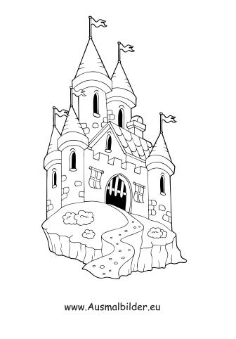 Ausmalbilder Burg Gebäude Malvorlagen Ausmalen