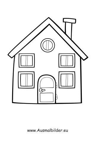 Ausmalbilder Einfaches Haus - Gebäude Malvorlagen ausmalen