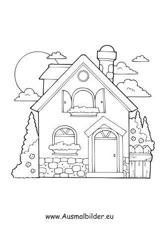 Ausmalbilder Haus mit Garten - Gebäude Malvorlagen ausmalen