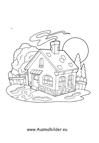 haus mit garten ausmalbild – rekem, Garten und Bauen