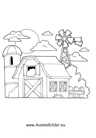 Ausmalbilder Mühle - Gebäude Malvorlagen ausmalen