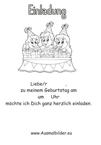 Ausmalbilder Einladung Zum Geburtstag Geburtstag Malvorlagen