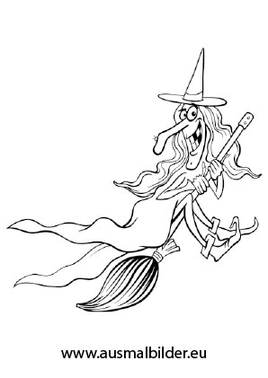 Ausmalbild Alte Böse Hexe