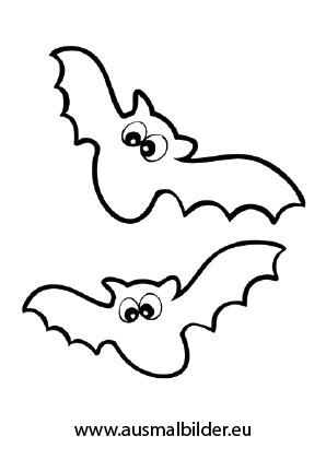 Ausmalbilder Flatternde Fledermäuse - Halloween Malvorlagen