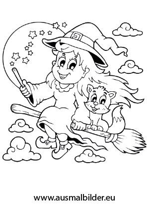 Ausmalbild Fliegende Hexe mit Katze