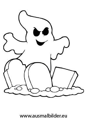 Ausmalbilder Halloween Gespenst über Grabsteinen