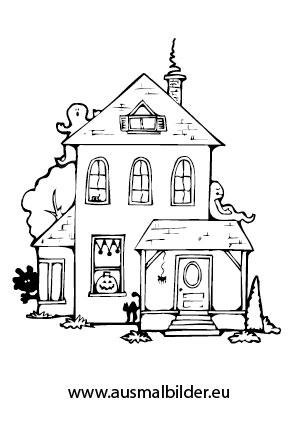 Ausmalbilder Gespenstisches Haus - Halloween Malvorlagen
