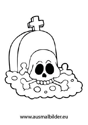 Ausmalbild Grab mit einem Totenschädel