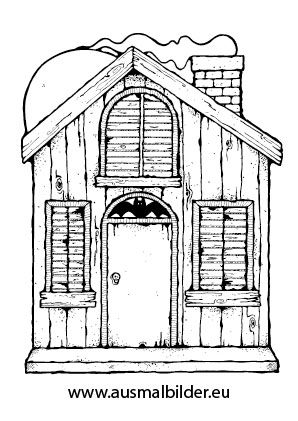 Ausmalbild Grusel Häuschen