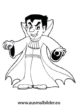 Ausmalbilder Gruseliger Vampir - Halloween Malvorlagen