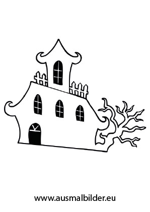 Ausmalbild Gruseliges Schloss