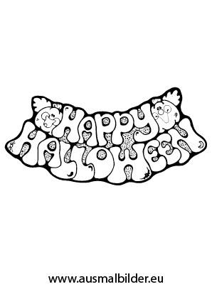 Ausmalbilder Happy Halloween - Halloween Malvorlagen
