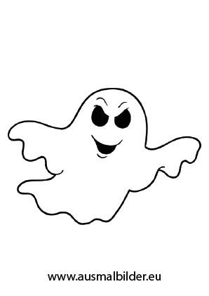 Ausmalbilder Komischer Geist - Halloween Malvorlagen