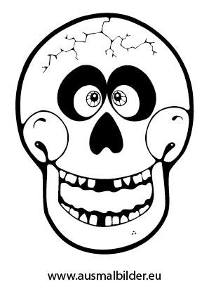 Ausmalbilder Lustiger Totenkopf Halloween Malvorlagen