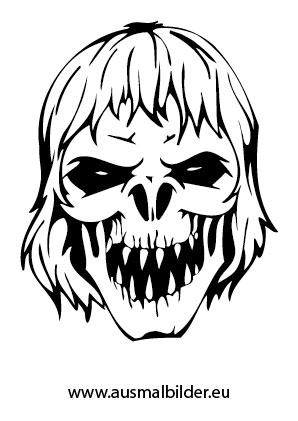 Ausmalbild Monster Kopf