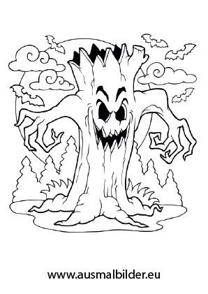 Ausmalbild Schrecklicher Baum