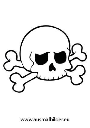 Ausmalbild Totenschädel mit Knochen