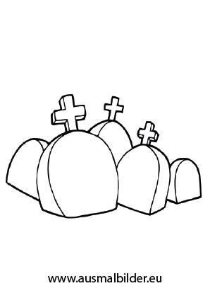 Ausmalbild Viele Grabsteine