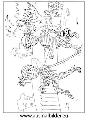 Ausmalbild Zwei Mumien