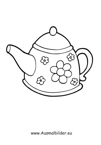 Ausmalbilder haushaltsgeräte kochtopf pfanne teekanne teigrolle
