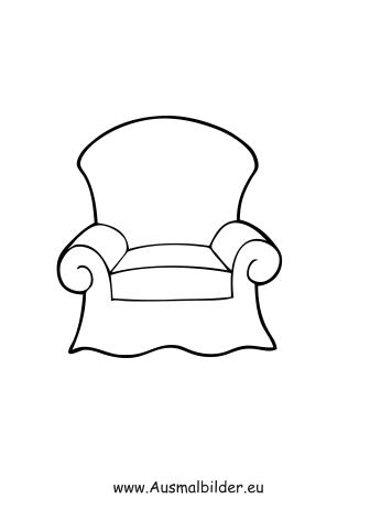 Sessel comic  Ausmalbilder Sessel - Möbel Malvorlagen