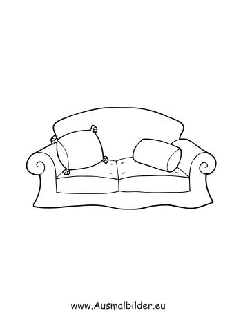 ausmalbilder sofa - möbel malvorlagen